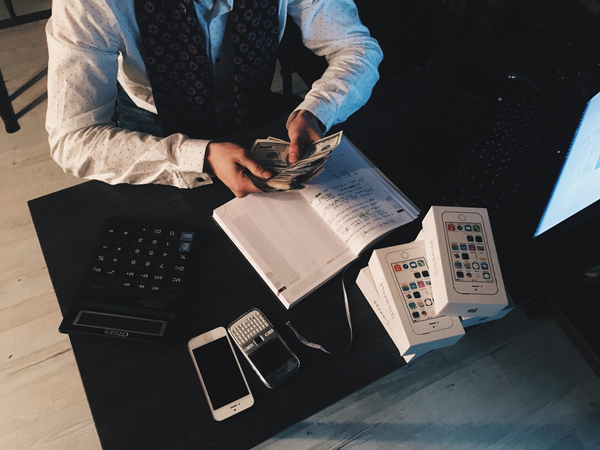 Businessman counting finances